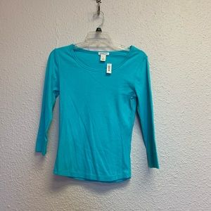 Turquoise shirt long sleeve size extra small